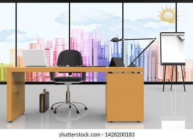 3D illustration. Office interior, with desk and computer. In the background with a view of the city.