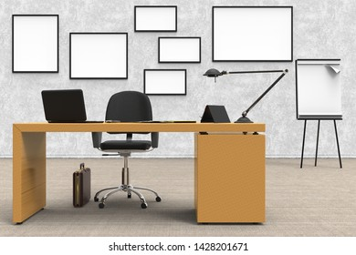 3D illustration. Office interior, with desk and computer. space to insert text.