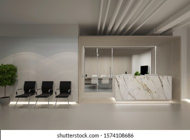 3d Illustration office stone reception with waiting area