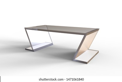 3D illustration of an office table on a white background