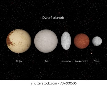 3d illustration of the officialy recognized dwarf planets in our solar system