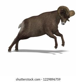 3D illustration og a brown ram over white