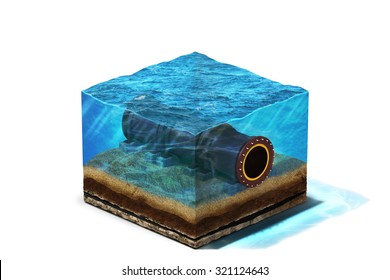 3d Illustration of oil pipeline lying on section of ocean bottom under water, isolated on white background