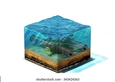 3d Illustration of oil pipeline with valve is lying on section of ocean bottom under water, isolated on white background