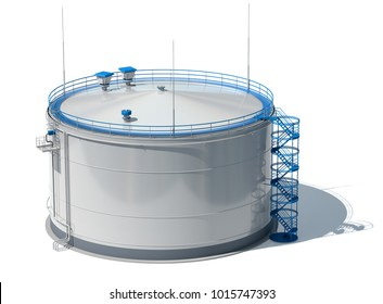 3d illustration oil tank. Isolated. 3d modeling