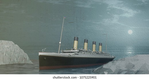 3d illustration of an old cruise liner