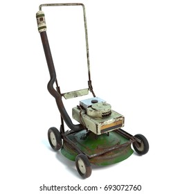 3d illustration of an old lawn mower