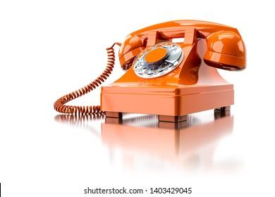 3d illustration of an old orange dial-up phone