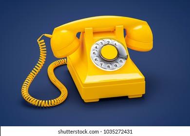 3d illustration of an old orange phone