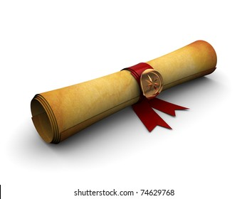 3d illustration of old paper scroll with golden seal and ribbon