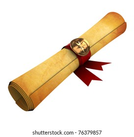 3d illustration of old paper scroll isolated over white background