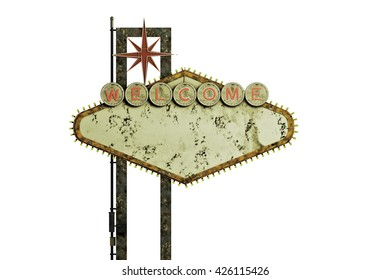 3d illustration of an old and rusty welcome sign isolated on white background