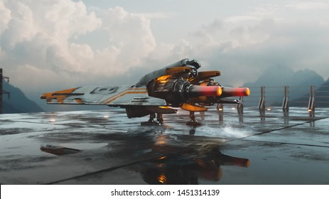 3d illustration of old scratched metal spaceship standing on the landing pad against the sky. Sci-fi vehicle standing on wet concrete floor. Single pilot spaceship. Concept assault fighter, gunship.