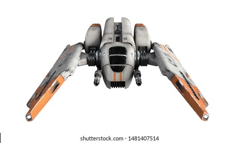 3d illustration of old scratched metal spaceship isolated on white background. Science fiction vehicle for space wars. Single pilot spaceship. Concept assault fighter, gunship. White orange spacecraft