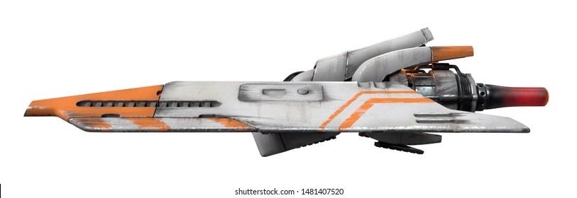 3d illustration of old scratched metal spaceship isolated on white background. Science fiction white orange vehicle for space wars. Single pilot spaceship. Concept assault fighter, gunship. Side view.