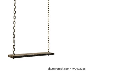 3d illustration of an old wooden swing isolated on white background