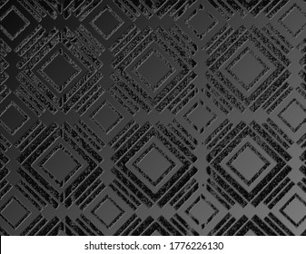 3D illustration of an ombre gradient effect in this dark monochromatic wallpaper graphic with abstract diamond pattern