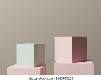 3d illustration - сubes on a light gentle background. Abstract composition of geometric objects for the design of presentations of goods, advertising.