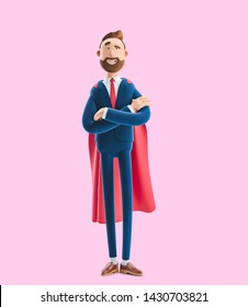 3d illustration on pink background. Cartoon character Billy clothed like a superhero.