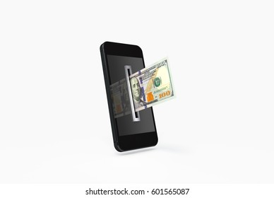 3D Illustration of One Hundred Dollar Bill being inserted into currency reader on a smartphone. Mobile money payment concept.