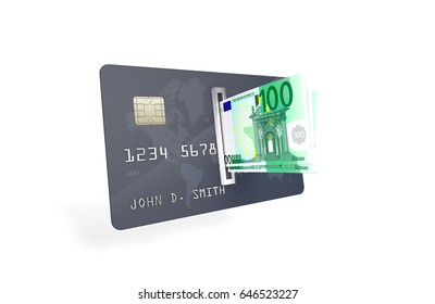 3D Illustration of One Hundred Euro Banknotes being inserted into currency reader on a credit card. Bank Account Balance Upload & Withdrawal concept.