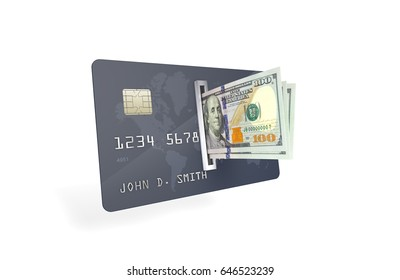 3D Illustration of One Hundred U.S. Dollar Bills being inserted into currency reader on a credit card. Bank Account Balance Upload & Withdrawal concept.