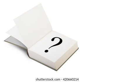 3D illustration of an open hard cover book with blank pages with the question mark sign written on the right page. Isolated on white background.