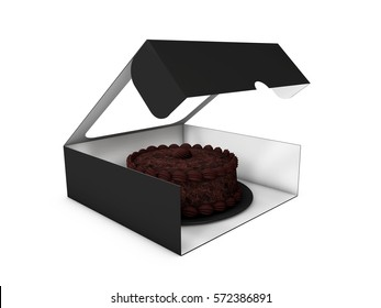 3d Illustration of Open Paper Box for Cookies or Cakes on White Background