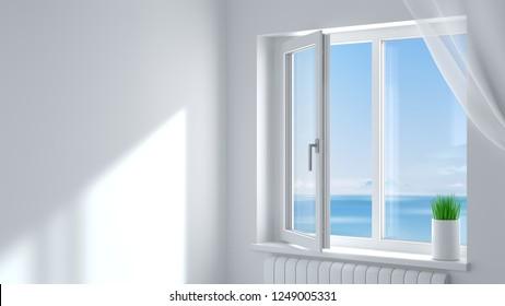 3d illustration. The open white modern plastic window in the room .
