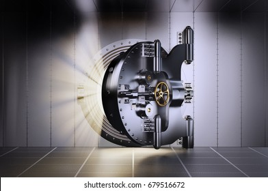 3d Illustration of Opened Bank Vault Door with light streaks