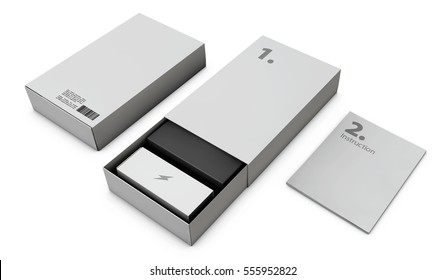 3d Illustration of Opened Gray Modern Software Package Box For Your Product