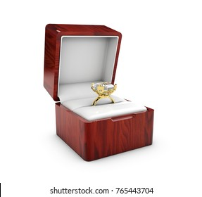 3d Illustration of Opened present box with jewerly on white background.