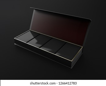 3d Illustration of Opened Square Black Box Mockup with four square box