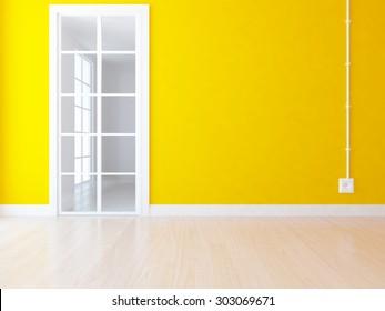 3d illustration of a orange empty room