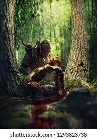 3D illustration of and orc and his dying friend