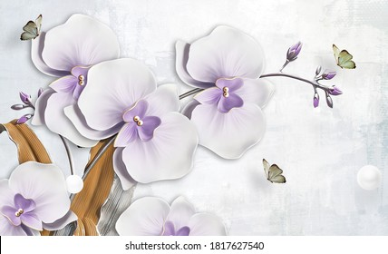 3d illustration of orchids and butterflies. Luxury abstract wallpaper