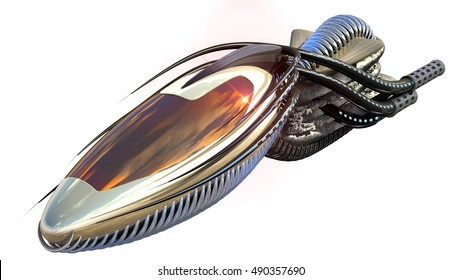 3D Illustration of organic drone design or alien spacecraft for science fiction themes, fantasy war games, futuristic military battles or space travel, with the clipping path included in the file.