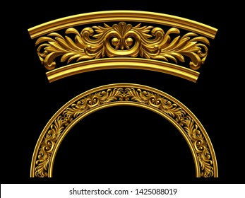 3d illustration ornament. Curved segment with fourtyfive degree angle can be combined with a straight or ninety degree version which can be found with the search term Four