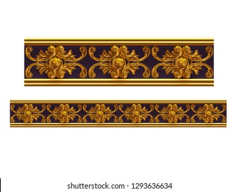 3d illustration ornament for straight lines. Straight segment can be combined with a fourtyfive or ninety degree curve version, which can be found with the search term rosewood