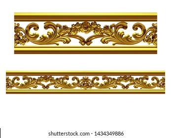3d illustration ornament. Straight segment, can be combined with a fourtyfive or ninety degree curve version, which can be found with the search term Eleven