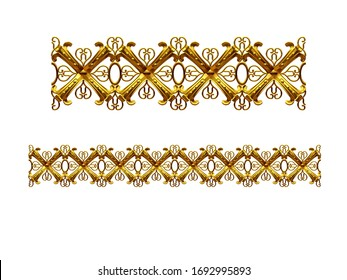 3d illustration ornament. Straight segment. Combinable with a fourtyfive or ninety degree curve version. Search term Cross