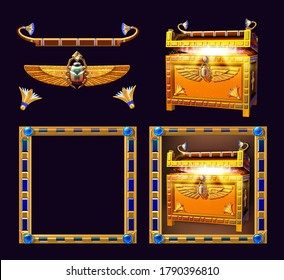 3D illustration of an ornate treasure chest surrounded by a decorative frame. Egyptian themed symbol for slot game.