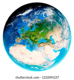 3d illustration of our planet Earth with shadows covered by clouds isolated on white background. Scenic view of Europe from space. Elements of this image furnished by NASA.
