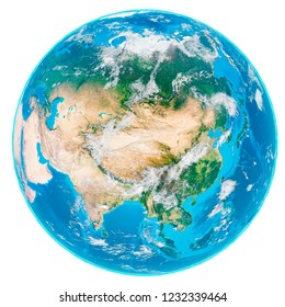 3d illustration of our planet Earth without shadows covered by clouds isolated on white background. Scenic view of Asia from space. Elements of this image furnished by NASA.