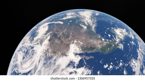 3d illustration of our planet Earth covered by clouds. Scenic view of North America continent from space. Elements of this image furnished by NASA. USA