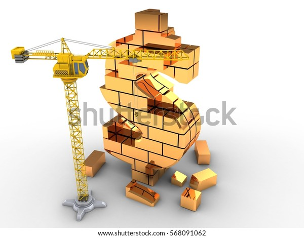 3d illustration of  over white background with crane