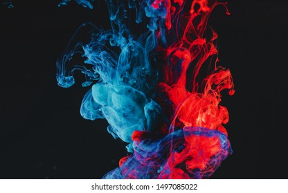 3D Illustration of Paint Liquid Clots Blue & Red Colored