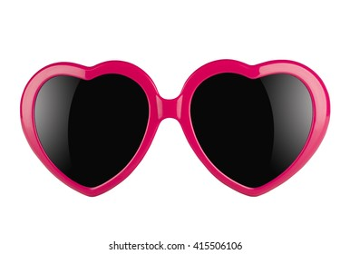 3d illustration of a pair of pink heart shaped sun glasses with black lenses isolated on white background
