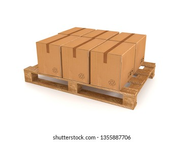 3d illustration of a pallet with cardboard boxes on a white background.