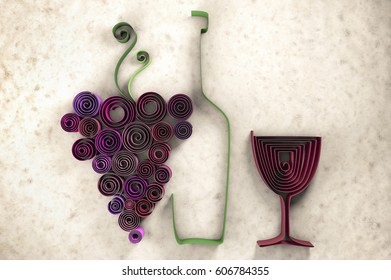3D illustration of paper swirl wine